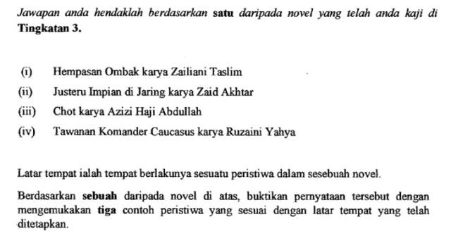 Contoh Soalan Novel Latar Tempat Terengganu Y